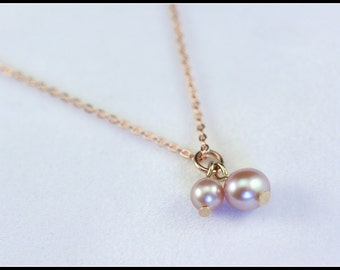 Mother's day gift, Pearls on Rose Gold Necklace, double pearl necklace, fresh water pearls, pink pearl necklace, mother gift, bridal gift