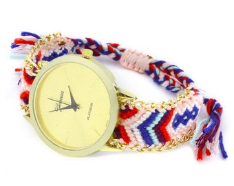 Simple Womens Watch , Womens Woven Watch , Braided Watch , Creative Watch , Fabric Watch , White Watch