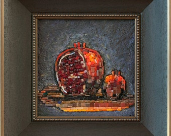 "Mosaic picture ""Grenades"" - mosaic fruit still life painting"