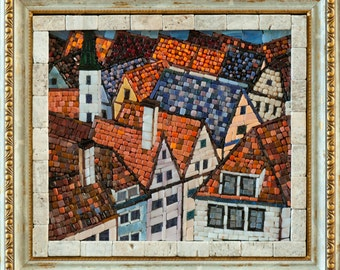 "Mosaic picture ""Tile roofs"" - mosaic old town landscape"