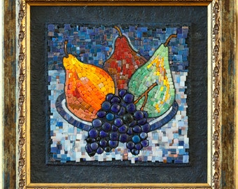"""Mosaic picture """"Grapes and pears"""" - mosaic fruit still life painting"""