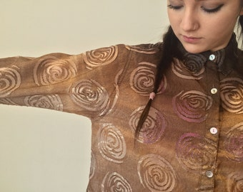 Cool 90s Blouse by Chicos / Womens Retro Swirly Shirt