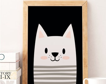 Cat print, Cute cat, Animals print, Scandinavian print, Scandinavian Nursery, Minimalist nursery, Black and white, Nursery wall decor