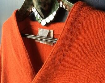 Vintage Orange Cardigan – Lord Jeff – Made in USA – Size Medium