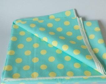 Pastel Lemon PolkaDot on Light Green Background Cotton Canvas Fabric
