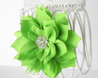 Apple green hair flower bow, baby toddler girls teen flower hair clip, Easter,spring, wedding,flower girl, special occasion flower accessory