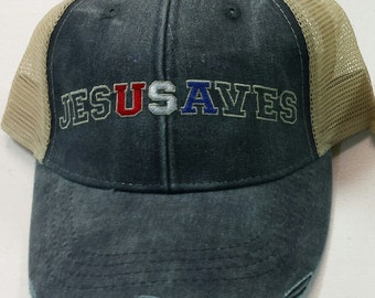 Jesus Saves USA Cap