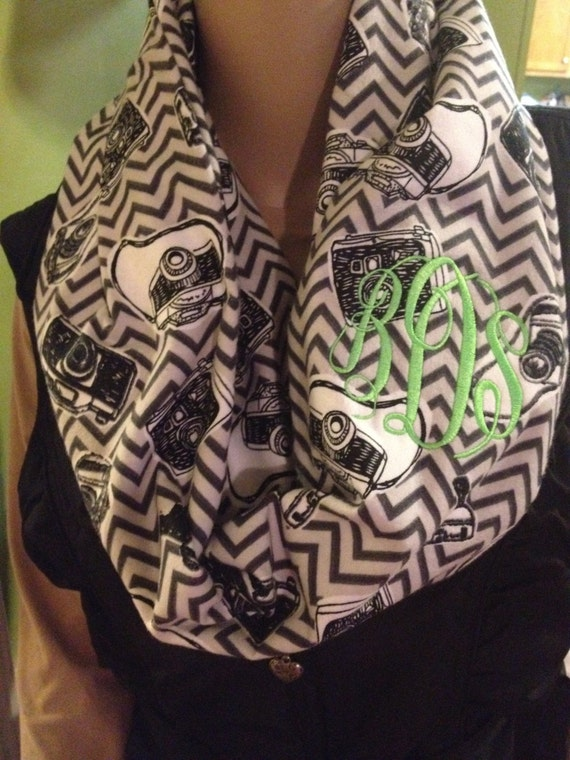 Monogram camera scarf ~ flannel photographer scarf ~ camera's and chevron scarf