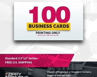"100 Standard Printed Business Cards 3.5"" x 2"",Business Cards Printing Rounded Corners, Matte or Glossy"