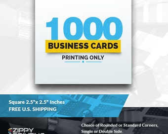 "1000 Square Business Cards 2.5"",Business Cards Printing Rounded Corners, Matte or Glossy"