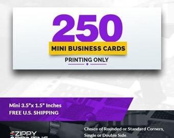 """250 Mini Business Cards 3.5"""" x 1.5"""" , Mini Business Cards Printing Rounded Corners, Matte or Glossy"""