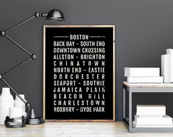 Merveilleux Boston Print   Neighborhoods   Subway Poster, Boyfriend Gift, Husband Gift, Wall  Art