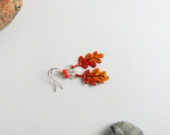 Orange and red oak leaf with waterdrops- Thanksgiving earrings - autumn fall - polymer clay