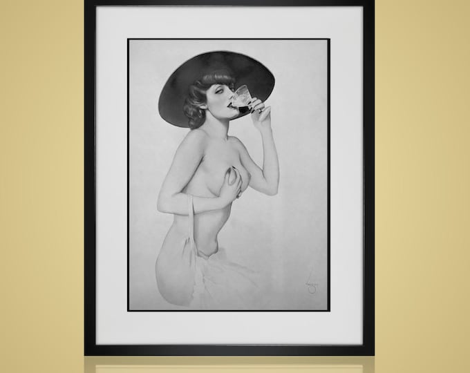Framed Wall Art -RISQUE WALL ART- Free Shipping - Framed And Matted - Available In 4 Sizes - Choose Black or Antique White Frames