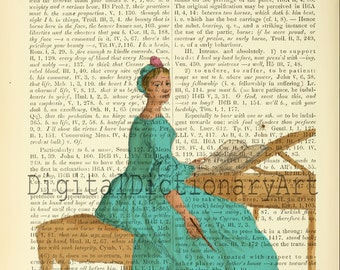 Vintage Dictionary Page Art Print illustration over a Upcycled Dictionary Digital File Instant  Download Print