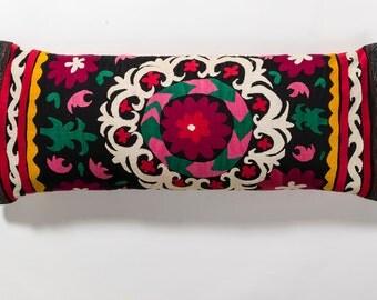 Suzani Pillow - Burgandy & Red Flower
