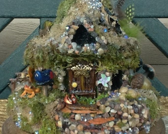 FAIRY COTTAGE - Fairy House - Fairy Habitat - Pixie- Woodland Cottage - Fairy Dwelling -  Miniature - Fantasy - Dew Drop Cottage - Free S/H
