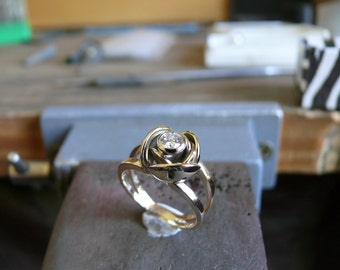 18ct Gold and diamond rose engagement ring