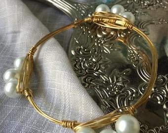 Lovely glass pearl handmade bangle