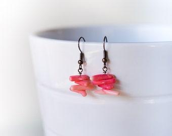 Pink coral earrings – pink earrings – pink coral sticks – natural stone earrings - exotic jewelery - unique ocean earrings – beach earrings
