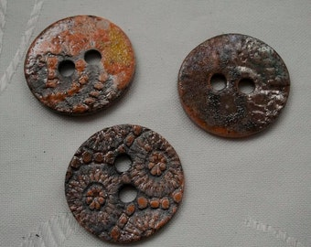 3 beautiful raku ceramic buttons