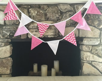 Pink and White Banner for Girl Nursery or Birthday Party