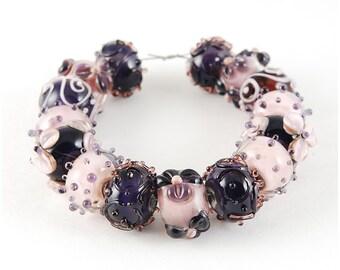 Lampwork Bead Set Handmade Rose Violet Ultra color Mix Glass SRA artisan diy jewelry supplies flowers polka dot Rondelle Beads Pink Purple