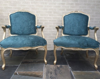 Vintage French Chair, armchair, accent chair, reupholstered chair, chairs