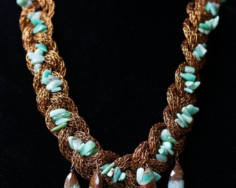 Chrysoprase Drops and Nuggets on mesh cord necklace