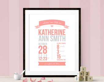 Personalised Baby Birth Date Print, Baby Birth Date Printable, Nursery Printable, Personalized Nursery Print, Birth Announcement Print