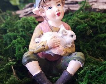 Miniature Boy Elf with Bunny