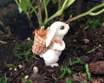 Miniature Bunny with Carrots in Backpack