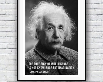 Albert Einstein, Intelligence Quote, Quote poster, Typographic print, Genius insight quote