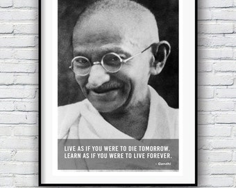 Gandhi, Quote poster, Typographic print, Inpirational Genius Quote, Sizes A4-A0