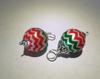Christmas Red and Green Chevron Dangle