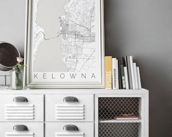 Map of Kelowna, BC Canada - Kelowna, BC Map Print - Map ART - Kelowna Poster - Office Decor - Scandinavian Art - Kelowna Printable Map