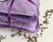 Lavender Sachets - Set of 5, dried lavender sewn into light purple cotton fabric sachet, perfect gift or wedding favor