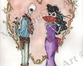 Day of the Dead Lovers Valentine sugar skulls Amore Dios de Los Muertos 8 x 10 print or notecard 5 x 7 or 4.25 x 5.5, wedding, anniversary
