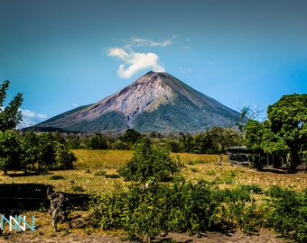 Ometepe Volvano Print, Volcano View, Travel Poster, Large Wall Art, Nicaragua Print - Silent Activity at Ometepe