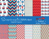 Train Papers, Train Digital Papers, Railroad Digital Papers, train conductor, steam engine, Commercial License Included
