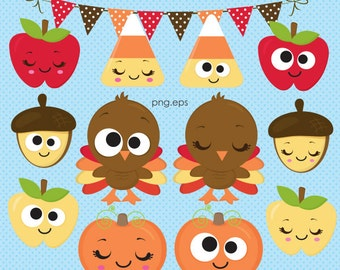 Cute Fall clipart, Autumn clipart, Thanksgiving clipart, Turkey clipart, Harvest clipart, Funny Turkey, Papers, Commercial License Included