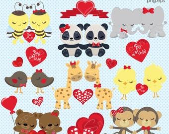 Valentine Clipart, Valentine animals clipart, Valentine Clip Art, valentines day, Valentine graphics, Valentine Paper, Commercial License