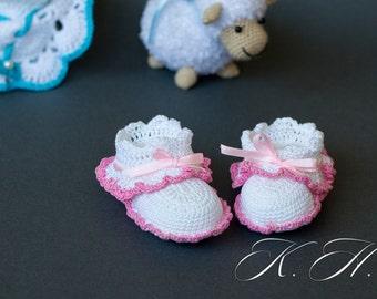 Crochet baby booties Crochet baby shoes Baby girl crochet booties Hand made crochet booties