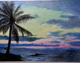 Sunset in Florida - original colored pencil art