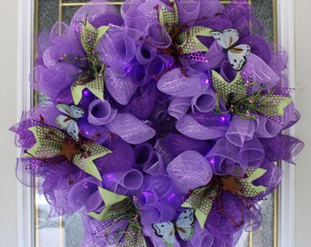Purple Butterfly Deco Mesh Wreath with lights