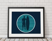 Cool Navy and Turquoise Surfer Print 8x10, 11x14, 13x19