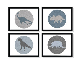 Set of 4 Dinosaur Prints in Blues and Grays 5x7 8x10, 11x14, 13x19