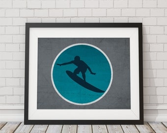 Turquoise and Gray Surfer Print 8x10, 11x14, 13x19