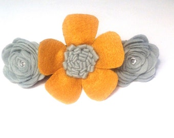 Dog handmade flower / flower for dog collar /felt dog flower/ beautiful dog accessories / gray dog felt flower