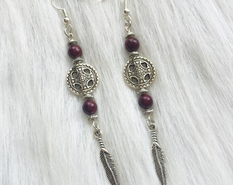Earrings - Cranberry Bead, Round Medallion, Feather  Charm - Southwest, Native